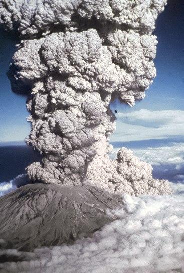 Mount St. Helens erupting blue