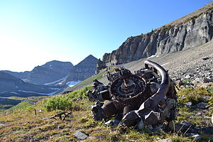Mount Timpanogos - Radial Engine from 1955 B-25 crash site. Mount Timpanogos in background.