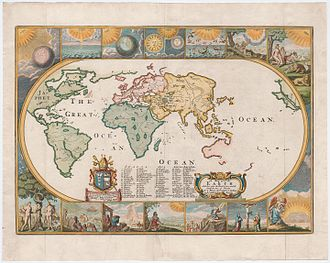 Joseph Moxon - Moxon's Map with a view of the world as known in 1681. The seven days of creation are illustrated in the panels at the top of the map.
