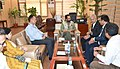 Mukhtar Abbas Naqvi discussing about establishment of Garib Nawaz Skill Development Centres across the country with Hyundai and UNCTAD officials, in New Delhi.jpg