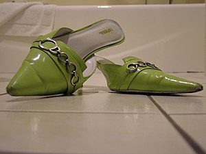 Mule (shoe) - Green Pleather Mules