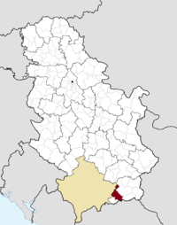 Location of the municipality of Bujanovac within Serbia