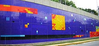 Baruta Municipality - Mural Jardín Lumínico, ceramic tiles mural by Patricia van Dalen on Prados del Este Highway.