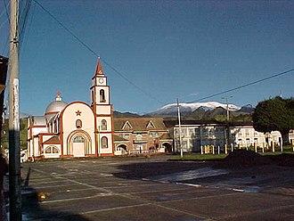Murillo, Tolima - Main square of Murillo with Nevado del Ruiz in background