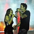 My Tam and Pierre Bouvier of Simple Plan join hands at MTV EXIT.jpg