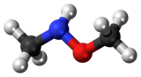 Ball-and-stick model of the N,O-dimethylhydroxylamine molecule
