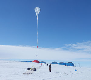 BARREL - A balloon begins to rise over the brand new Halley VI Research Station, which had its grand opening in February 2013