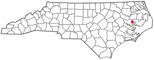 Pantego, North Carolina - Image: NC Map doton Pantego