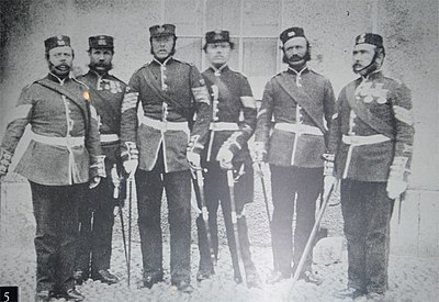 NCOs of the 58th Regiment of the Foot in New Zealand, date unknown. NCO's-of-the-58th.jpg
