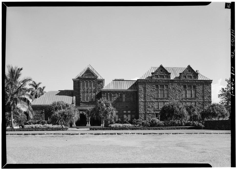NORTHEAST (FRONT) ELEVATION - Bishop Museum, Main Building, Likelike Highway, Honolulu, Honolulu County, HI HABS HI,2-HONLU,4-1