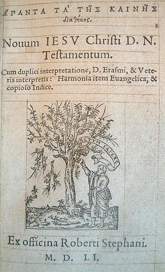 Textus Receptus - 4th edition of New Testament of Robert Estienne