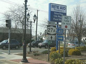 New York State Route 27A - NY 27A westbound at the junction with CR 47 in Copiague