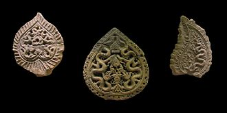 Buddhism in Vietnam - Terracotta Bodhi leaves with dragon motif (Lý-Trần dynasties, 11th-14th century)