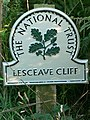 National Trust Sign, Lesceave Cliff - geograph.org.uk - 230979.jpg
