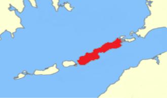 Naushon Island - The location of Naushon Island within the Elizabeth Islands.