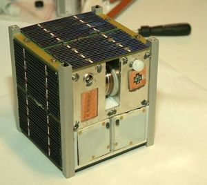 Asgardia (nation) - A CubeSat. At 10x10x10cm, this one is half the size of the Asgardia-1