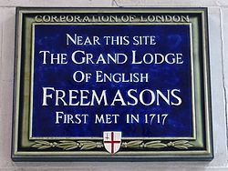 Near this site the grand lodge of english freemasons first met in 1717