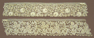 Needle lace - Needle lace borders from the Erzgebirge mountains of Germany in 1884, displayed in the Victoria and Albert Museum.
