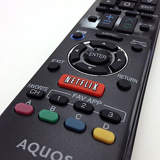 An Aquos remote control with a Netflix button Netflix button on Sharp Aquos remote 20131106.jpg