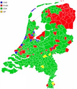 Carte des Pays-Bas avec les partis les plus importants par commune