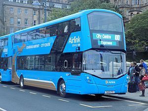 Edinburgh Airport - Airlink 100 airport express bus on Waverley Bridge