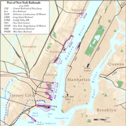 Map showing Hudson River terminals ca. 1900