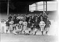 A black-and-white photograph of the 1913 New York Yankees