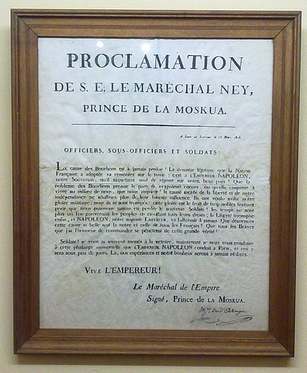 A public proclamation by Ney, dated March 1815, urging French soldiers to abandon the king and to support Napoleon Ney Proclamation March 1815.jpg