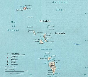 Map of the Nicobar Island in the Indian Ocean