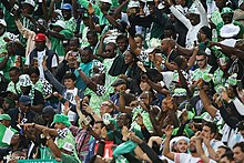 c48b95f1e77 Nigerian football supporters at the 2018 FIFA World Cup in Russia