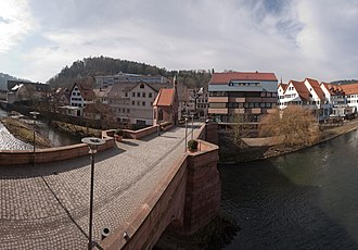 Hermann Hesse - St. Nicholas-Bridge (Nikolausbrücke), one of Hesse's favorite childhood places. Click to see an enlarged image, in which the statue of Hesse can be seen near the center.