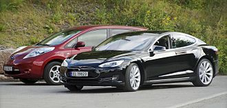 As of January 2018 , the world's two best selling all-electric cars in history were the Nissan Leaf (left), with 300,000 in global sales and the Tesla Model S (right), with over 200,000 in global sales. Nissan Leaf and Tesla Model S in Norway cropped.jpg
