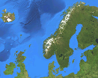 Nordic countries - Satellite map of the Nordic countries