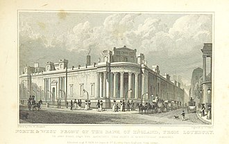 """Lothbury - """"North and West Front of the Bank of England, from Lothbury"""", 1828."""