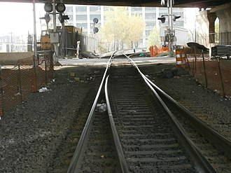 Northern Branch -  Single running track under the Pulaski Skyway connects to the Passaic and Harsimus Line at Marion Junction. ROW previously also connected to Bergen Hill Cut and Exchange Place