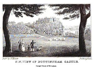 Nottingham Castle - The castle from The History and Antiquities of Nottingham by James Orange, 1840