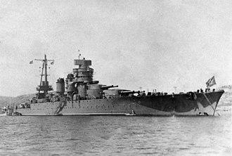Italian battleship Giulio Cesare - Novorossiysk at anchor, flying the Soviet ensign