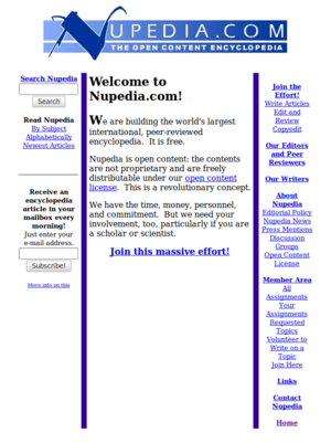 Nupedia - Image: Nupedia, the open content encyclopedia 2000 08 15