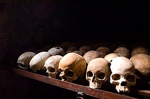 English: Nyamata Memorial Site, skulls. Nyamat...