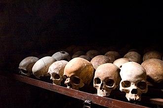 Rwanda - Human skulls at the Nyamata Genocide Memorial