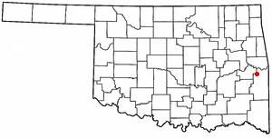 Bokoshe, Oklahoma - Image: OK Map doton Bokoshe