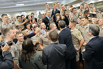 Texas A&M University Corps of Cadets - President Barack Obama shakes hands with Cadets during a visit to the campus in October 2009.