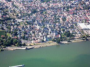 Aerial view of Oestrich and Rhine river