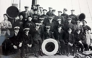 SS Tynwald (1891) - Officers, Engine Room Staff and Deck Crew of Tynwald, 1928. Capt J.J. Qurik (pictured centre).