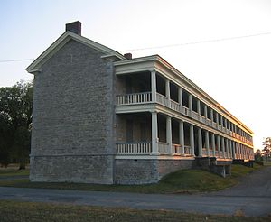 "Old Stone Barracks - Sunset looking west at the 1838 ""Old Stone Barracks"" at Plattsburgh, New York.  Photographed September 25, 2008"