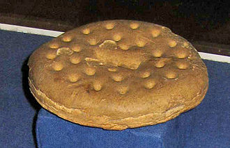 Hardtack - A ship's biscuit—purportedly (circa 1852) the oldest in the world—displayed at the maritime museum in Kronborg, Denmark