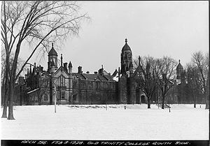 Trinity–Bellwoods - 'Old Trin' Trinity College on Queen St at top of Strachan Ave, 1928