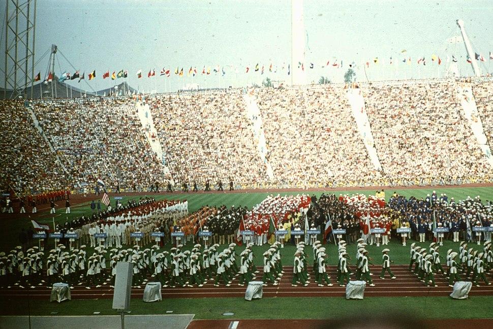 Olimpiai Stadion, az olimpia megnyitóünnepsége. Fortepan 73767