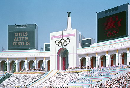The Opening Ceremony at the Los Angeles Memorial Coliseum Olympic Torch Tower of the Los Angeles Coliseum.jpg