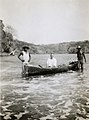 On shore of Pedro Gonzales Island, Pearl Islands, Panama, 1 March 1935. Cayuca (sic), Hildbrand and two native helpers (22714510860) (cropped).jpg